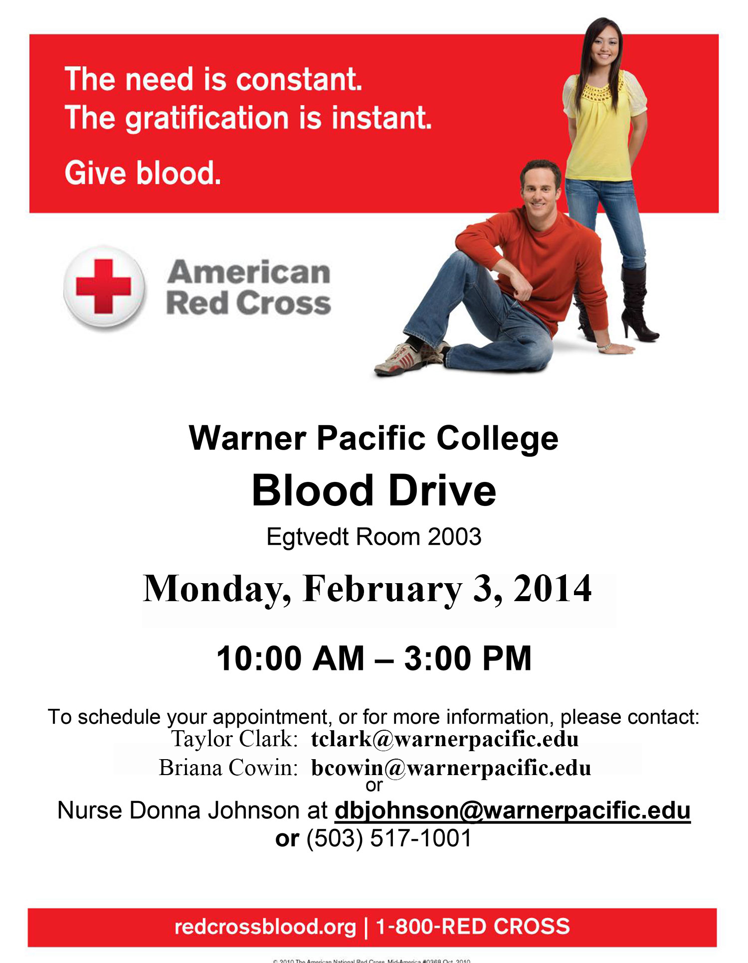 Warner Pacific Blood Drive